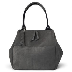 Charcoal Suede Slouchy Tote